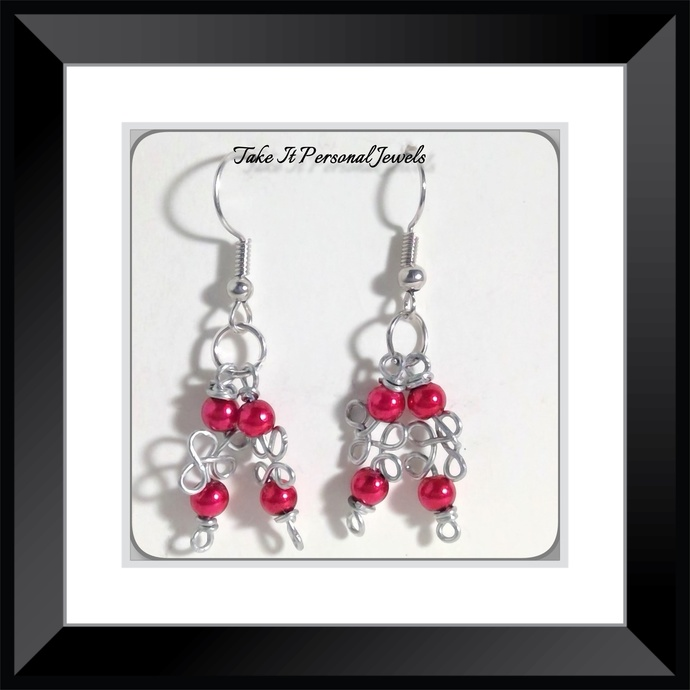 Red Mini Glass Pearls Wire work Earrings Handmade Dangle Silver Jewelry