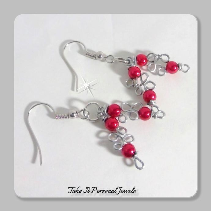 Red Mini Glass Pearls Wire work Earrings Handmade Dangle Silver Jewelry