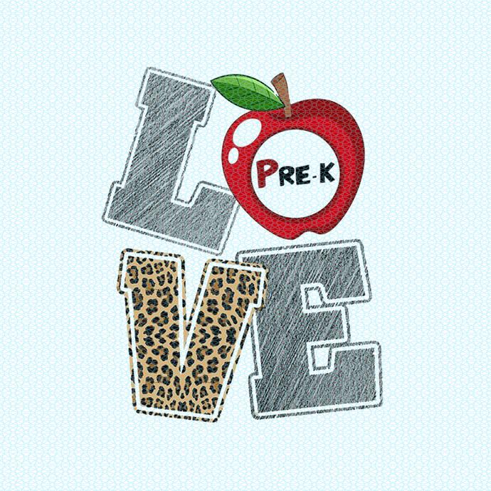 Love Pre-K, Teacher funny birthday gift, Teacher Appreciation design PNG