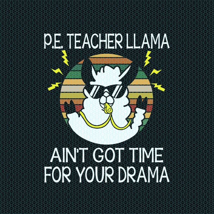 P.E teacher Llama ain't got time for your drama, Teacher funny birthday gift,