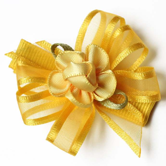 Hair Clip Set of 2, Yellow Floral
