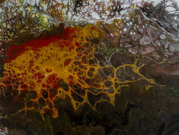 "Acrylic Pour Painting Original Artwork 12""x 16"" on Canvas  Abstract Art Fluid"