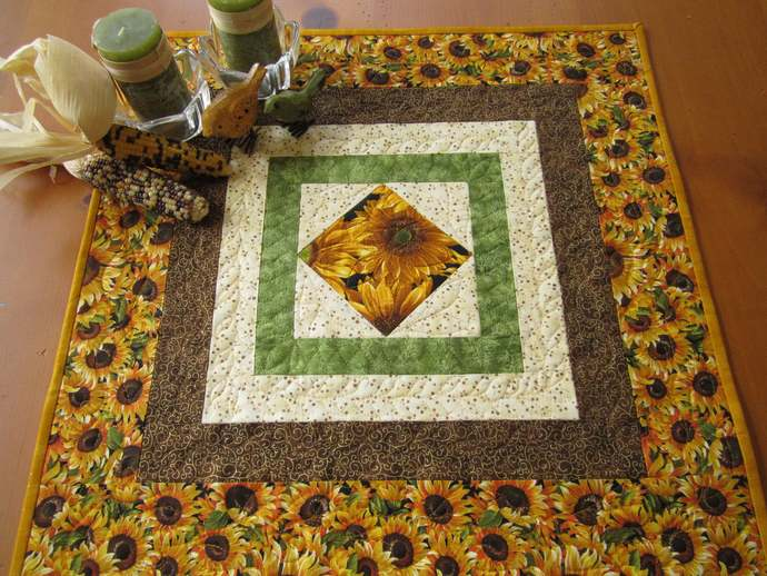 Table Topper Fall Sunflowers Handmade Gift