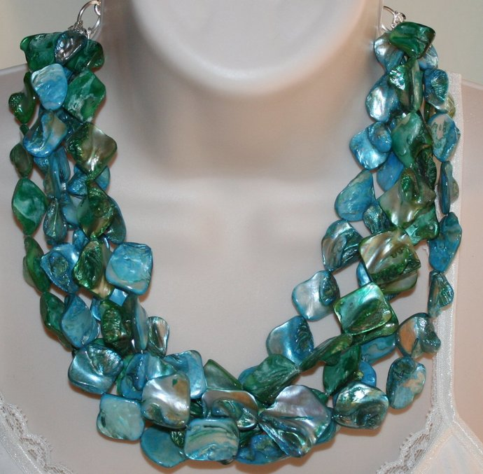 Bold Chunky Mother of Pearl Statement Necklace, Ocean Blue & Green Shell Beach
