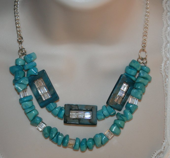 Blue Mother of Pearl Rectangles & Chunky Blue Bamboo Coral Statement Necklace,