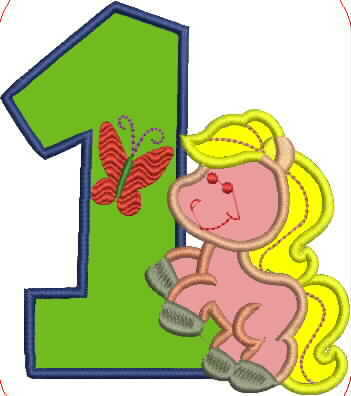 Pony and Number One Embroidery Applique Design