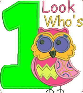 Owl and Number One Embroidery Applique Design