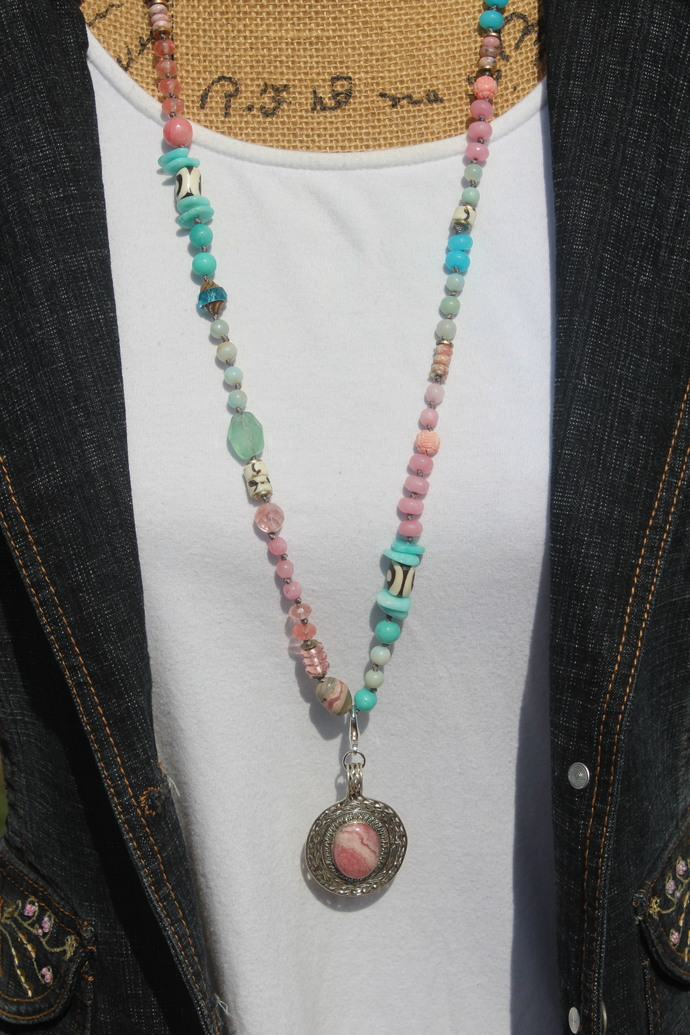 Flower Garden Long Beaded Necklace with Pendant Hand Knot Boho Glam by KnottedUp
