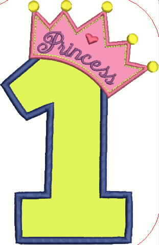 Princess Crown and Number One Embroidery Applique Design