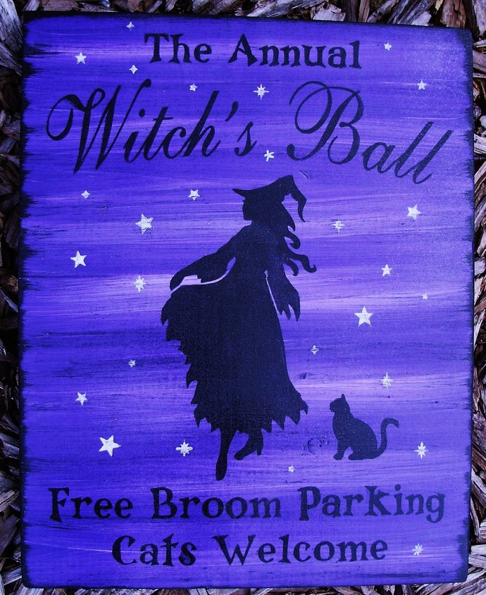 Primitive Witch sign Annual witches ball dance witchcraft halloween party Signs
