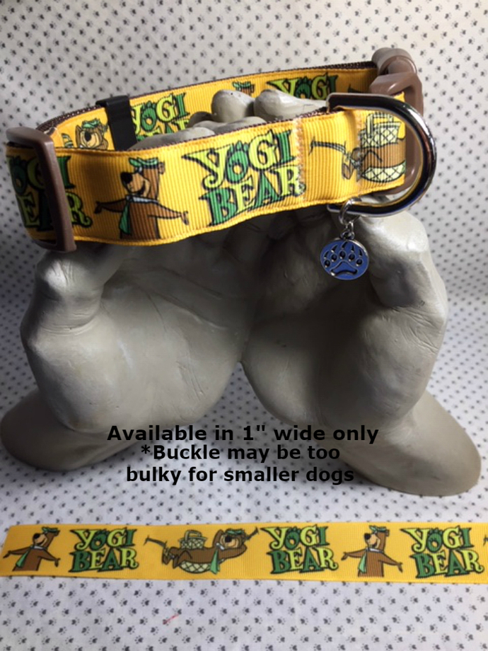 "Yogi Bear, cartoon tv, animated, 1"" wide adjustable Dog Collar, Bear claw charm,"