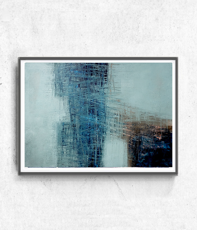 Scandinavian abstract, Printable Art, blue heart , Art Poster, Digital Download,