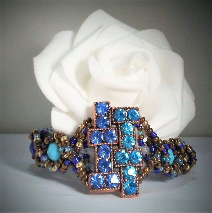 Rhinestone shades of blue Rectangle Bracelet statement Jewelry Holiday bracelet