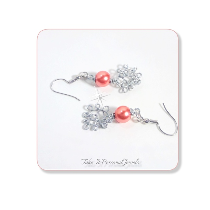 Wire Wrapped Pearls High Gloss Dangle Earrings Holiday Jewelry Coral,Dark Grey