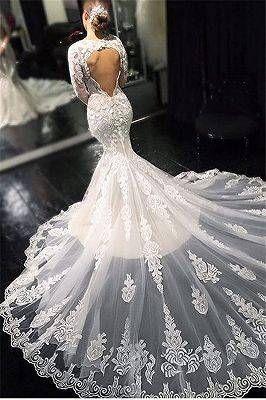 V-Neck Appliques Mermaid Sweep Train Wedding Dresses