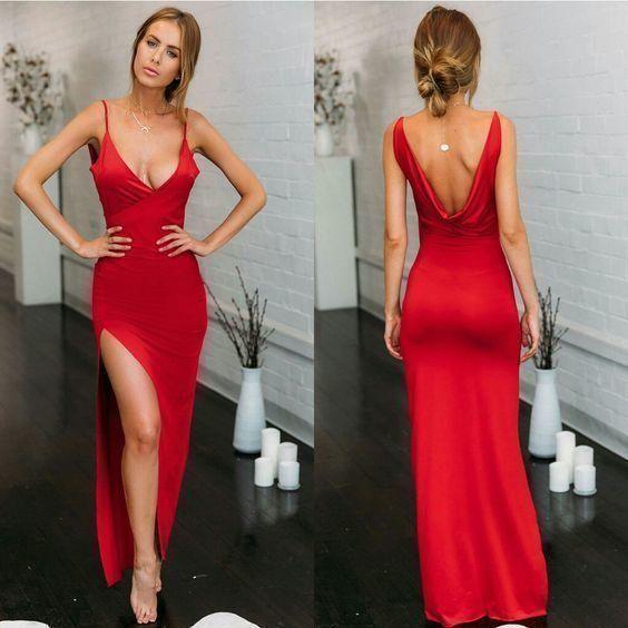 red prom Dress,side slit Prom Dress,long prom dress,sheath prom dress,Low back