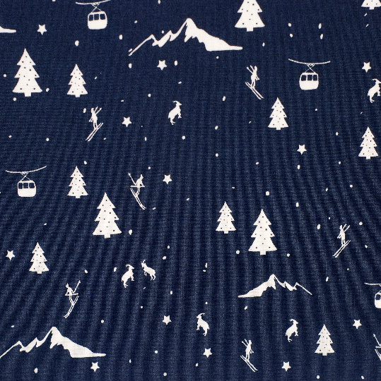 Winter Fabric - fat quarter fabric bundle - 100% cotton - navy blue - Quilting