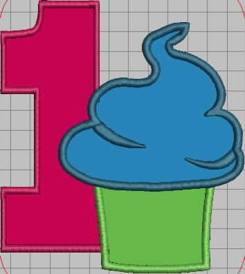 1st Birthday Cupcake Embroidery Applique Design
