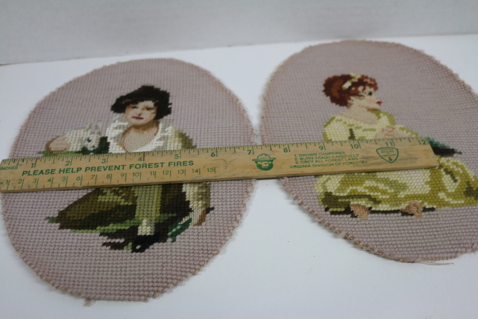 Edwardian boy and girl needlepoint Vintage Petite point details. Nice
