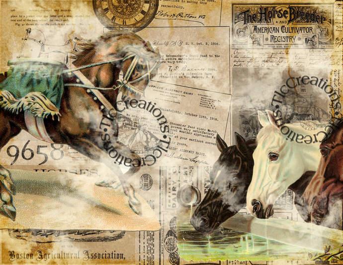 Vintage Horse Play Printable Digital Papers