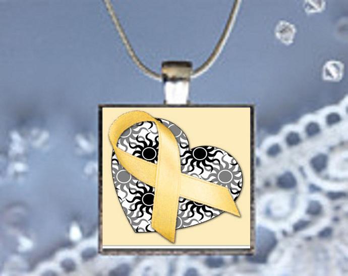 Pendant Necklace Yellow Ribbon (Cancer Survivor Awareness)