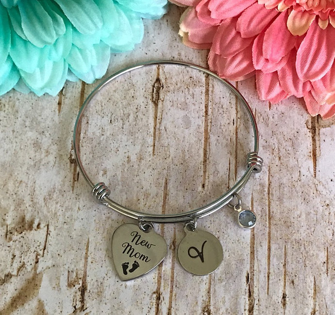 New Mom Personalized stainless steel bangle bracelet, 1st Mother's Day gift,