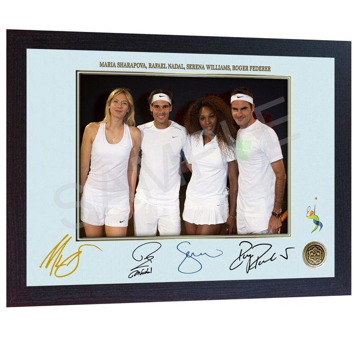 2019 Wimbledon Men's Final Roger Federer Novak Djokovic Signed FRAMED