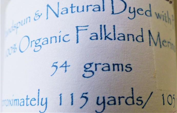 Handspun Yarn Natural / Eco Dyed with Privet – 100% Organic Merino – 54 grams –
