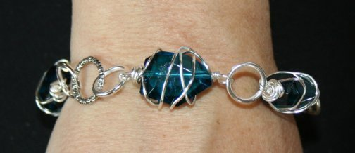 Silver Wire Wrapped Faceted Cyan Blue Crystal Bracelet