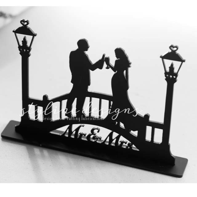 Beer and Wine Toasting on Bridge Wedding Laser Cut Sign or Topper