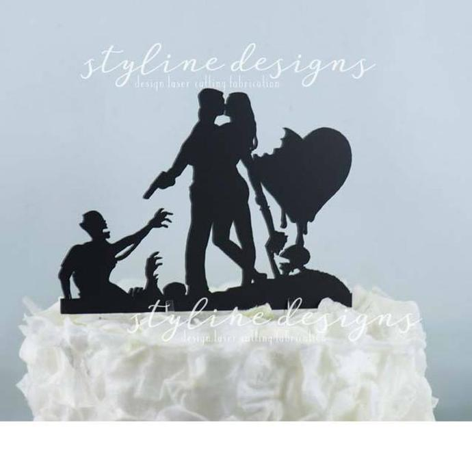 Zombie Hunters Humor Wedding Laser Cut Sign or Topper