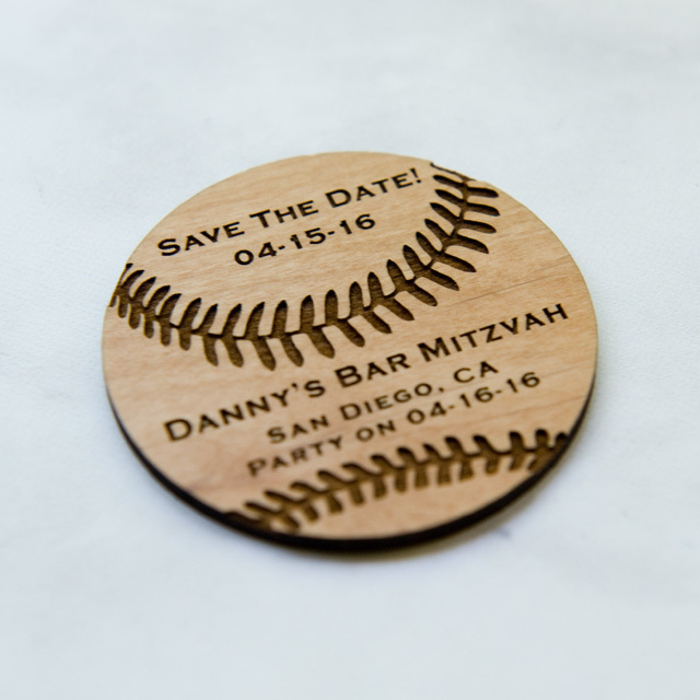 10+ Baseball Ball Shape Save the Date Magnets - Laser cut and Etched on Wood