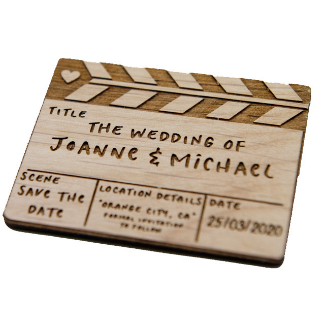 10+ Clapperboard Save the Date Magnets - Laser cut and Etched on Wood