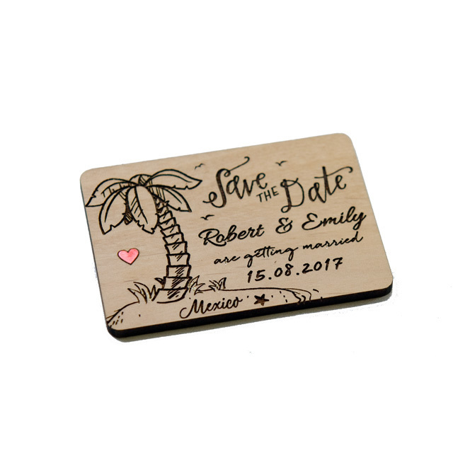 10+ Travel with Palm Tree Save the Date Magnets - Laser cut and Etched on Wood