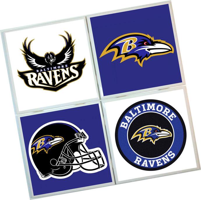 Baltimore Ravens Coasters - set of 4 tile coasters - NFL, football, foot ball,
