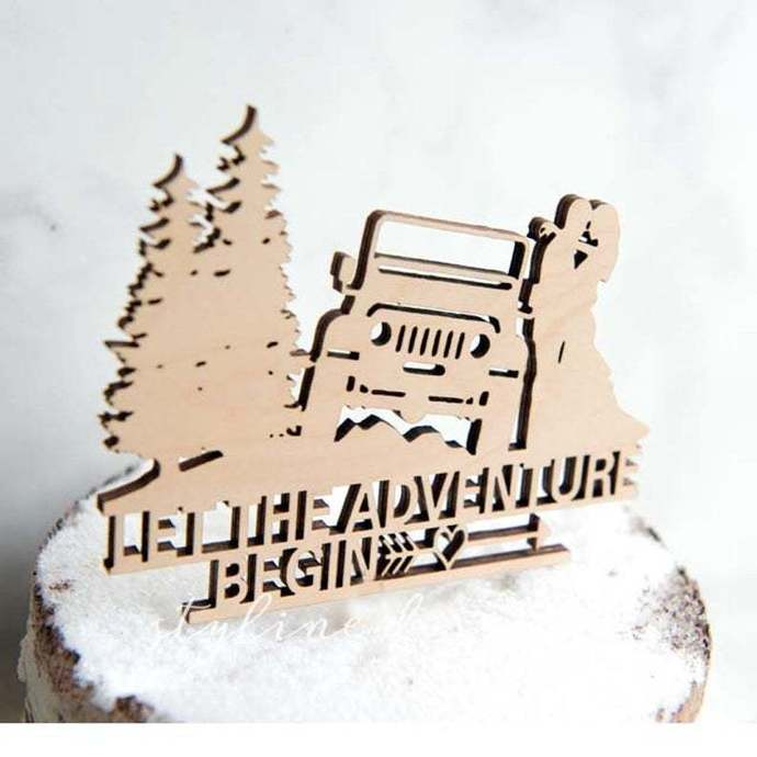 Let the Adventure Begin Romantic Laser Cut Sign or Topper