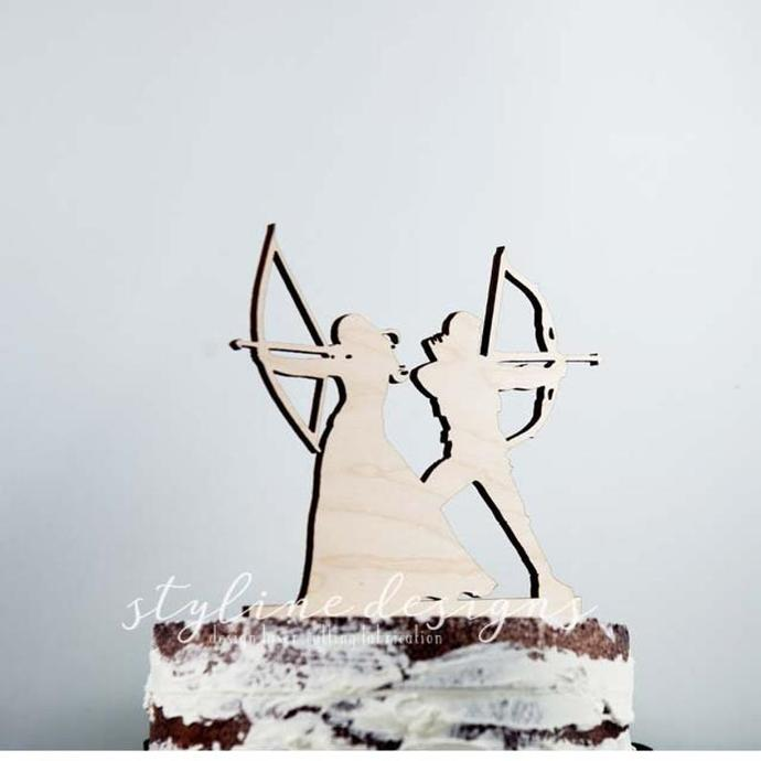 Crossbow Couple Wedding Laser Cut Sign or Topper