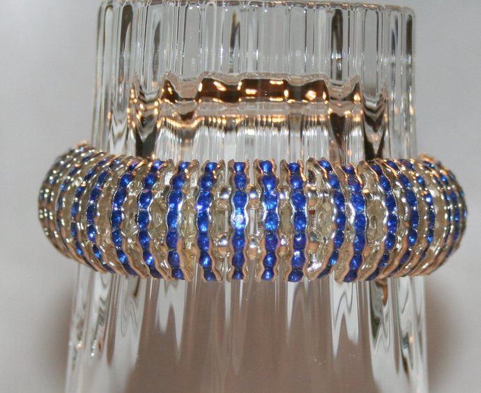 Silver & Crystal Rhinestone Double Strand Statement Bracelet, Bright Blue