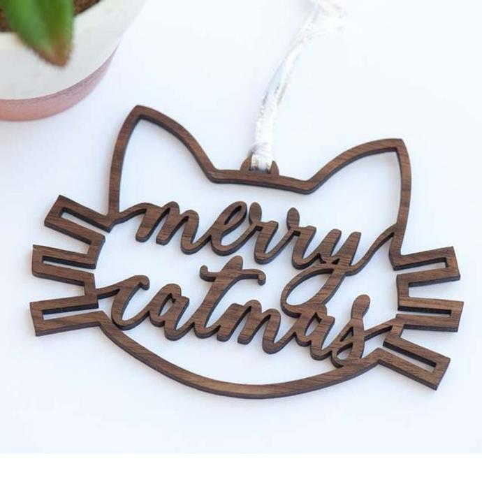 MerryCatmas Lasercut Ornament
