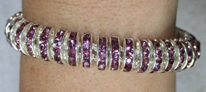 Amethyst Crystal Double Strand Statement Rhinestone Bracelet, Violet Purple Boho