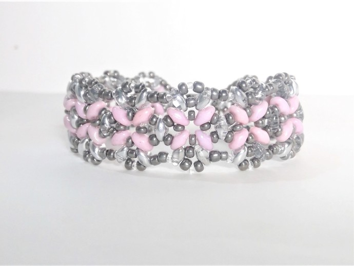 Pink Crystal Bracelet Matching Earrings