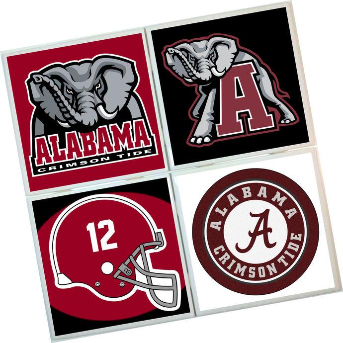 Alabama Crimson Tide Coasters - set of 4 tile coasters - college, football, foot