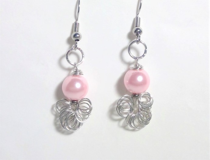 Pink, Red, silver Pearl Earrings Dangle Holiday jewelry Gifts