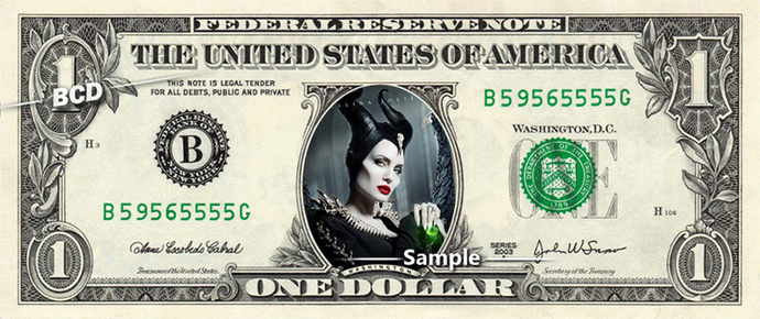 Maleficent 2 Mistress Of Evil Angelina Jolie on a REAL Dollar Bill Cash Money