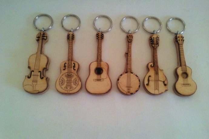 Bluegrass Instrument Key Rings: Guitar, Banjo Mandolin, Dobro, Ukulele and