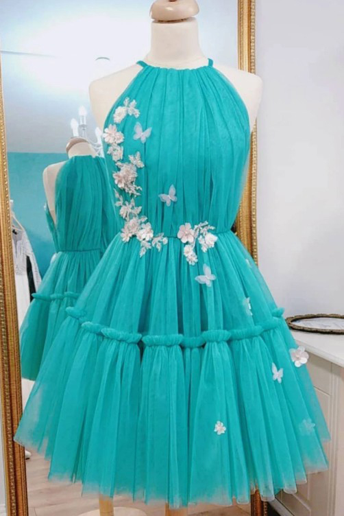 Halter Green Tulle Prom Dress, Short Homecoming Dress with Flower