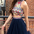 High neck Tulle Short Embroidery Homecoming Dress, Beaded Two Piece Prom Dress