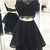 Halter Black Two Piece Lace Prom Dress, Backless Short Party Dress