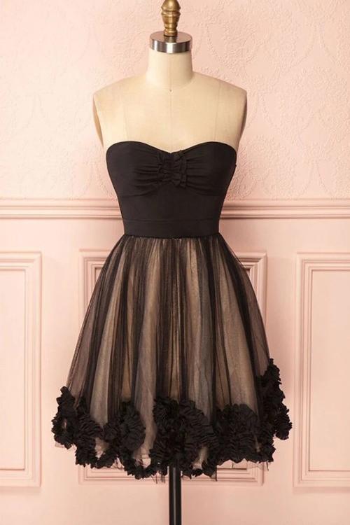 Cute Black Short Prom Dress, Sweetheart Homecoming Dress