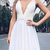 Sexy Deep V neck Short Party Dress, White Prom Dress